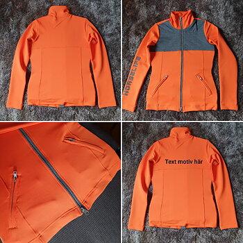 Jacka  i härlig orange med grå detaljer. Supper bra att rida i så man syns .Reflex tryck som tillval