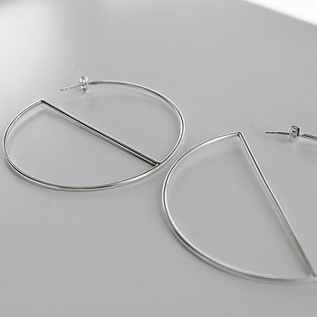 MILA ROD Hoops Large, silver