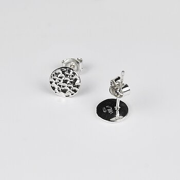 MILA MOON ear studs silver, hammered