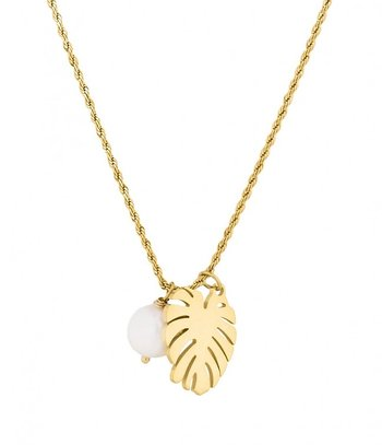 BUD TO ROSE - Palmleaf Necklace - Gold
