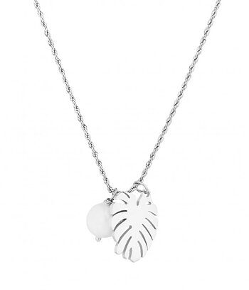 BUD TO ROSE - Palmleaf Necklace - Steel