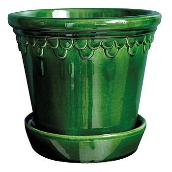 Bergs Potter- Kruka med fat, grön glaserad Köpenhavner