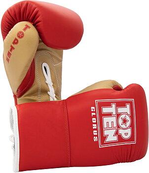 Topten Boxhandske GLORUS, röd med snörning  10 oz