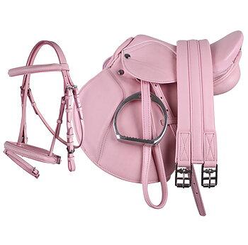 Komplett set med sadel & träns rosa
