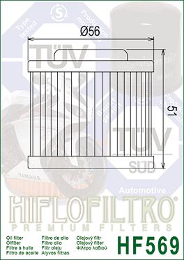 HF569 Hi-Flo Oljefilter MV Agusta
