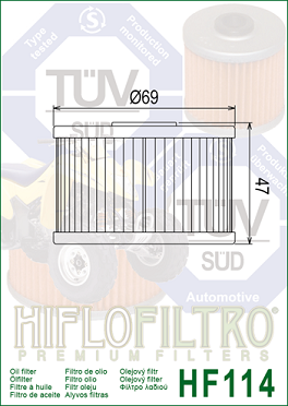 HF114 Hi-Flo Oljefilter Honda