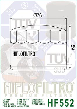 14153000 Oljefilter Moto Guzzi = Ersätts av HF552 Oljefilter MC