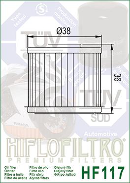 HF117 Hi-Flo Oljefilter Honda (15412-MG5-D21)
