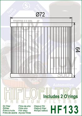 HF133 Hi-Flo Oljefilter Bimota, Suzuki