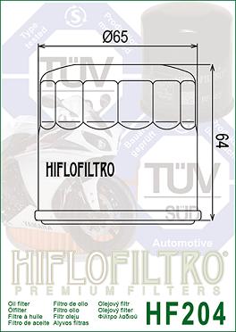 T210444, T1218001 Ojefilter Triumph = Ersätts av HF204 Oljefilter MC