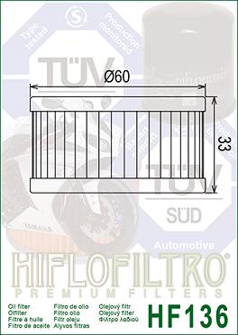 HF136 Hi-Flo Oljefilter Beta, Suzuki