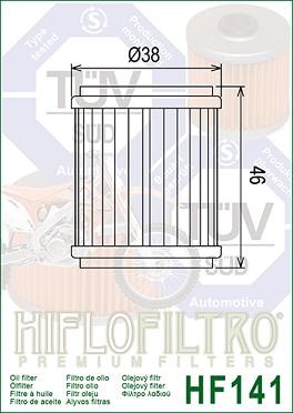 FA5TA13440 Oljefilter Fantic = Ersätts av HF141 Oljefilter MC