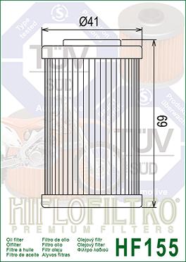 2520754 Oljefilter Polaris = Ersätts av HF155 Oljefilter MC
