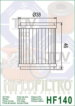 HF140 Hi-Flo Oljefilter