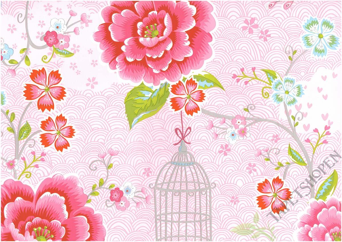 tapet med fåglar och blommor
