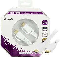 Deltaco HDMI-kabel, 4K, 3D, flat, guldpläterade kontakter, 3m, vit