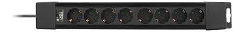 Deltaco Grenuttag med 8 uttag, 1,5m kabel, svart