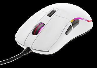 Deltaco Gaming optisk mus, RGB, 5000 DPI, 1000 Hz, 1,8m kabel, USB, glossy vit
