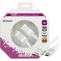 Deltaco HDMI-kabel, 1m, 4K, 3D, vit