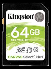 Kingston Canvas Select Plus SDXC, 64GB, Klass 10 UHS-I, svart