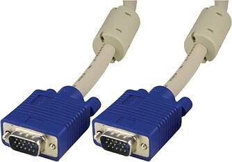 Deltaco, Monitorkabel RGB HD15ha-ha 25m, utan pin 9, grå (RGB-8F)