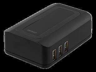 Deltaco USB laddningsstation med 6 USB-portar, 240V-5V USB, 6.4A, LED-indikator, svart