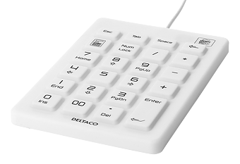 DELTACO numeriskt tangentbord i silikon, IP68, 23 tangenter, USB kabel 1,8m, vit