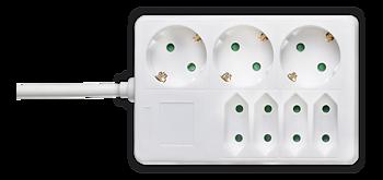 Deltaco Grenuttag med 3xCEE 7/4 och 4xIEC 60906-1 uttag, 1,5m kabel, vit