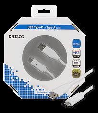 Deltaco USB-kabel, Typ C - Typ A ha, 0,25m, vit