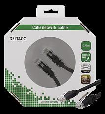 Deltaco U/UTP Cat6 patchkabel, 0,5m, svart