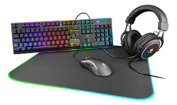 Deltaco Gaming 4-in-1 RGB Gaming Gear Kit, Headset/Tangentbord/Mus/Musmatta, svart/RGB