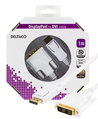 Deltaco DisplayPort till DVI-D Single Link monitorkabel, 1m, vit