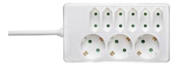 Deltaco Grenuttag med 3 plus 6 uttag, 1,5m kabel, vit