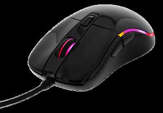 Deltaco Gaming optisk mus, RGB, 5000 DPI, 1000 Hz, 1,8m kabel, USB, glossy svart