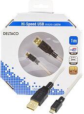 Deltaco USB-kabel, Micro - Standard, grå/svart, guldplätterad, 1m