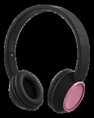 STREETZ Bluetooth-hörlurar med mikrofon, Bluetooth 4.2, 10m räckvidd, 10h speltid, svart/rosa