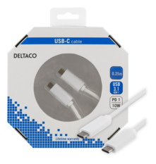 Deltaco USB 3.1 kabel, Gen 1, Typ C - Typ C, 0,25m, vit