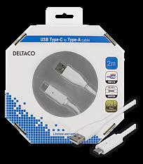 Deltaco USB-kabel, Typ C - Typ A ha, 2m, vit