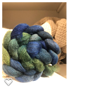 Blå och Grön! Handfärgat topsband 120g  Bluefaced Leicester
