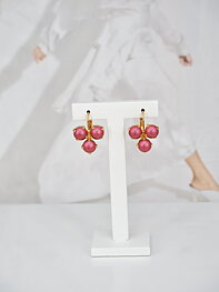 Earrings Maya Triangle Mulberry Pink Pearl Gold
