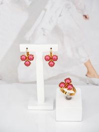Maya Mulberry Pink Pearl Gold Jewelry Set