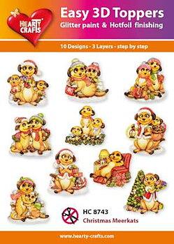 Easy 3D topper -christmas meerkats