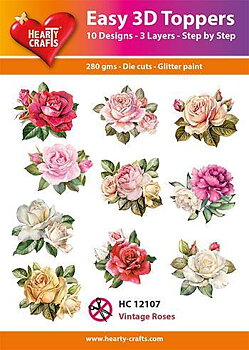 Easy 3D topper -vintage roses