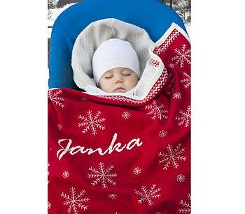 """Babydecke mit Schneeflocken und Namen. """"rot"""""""