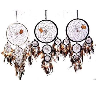 Drömfångare med 5 ringar - 17 cm