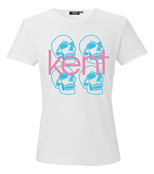 T-SHIRT: GIRLIE SKULLS BLUE/PINK