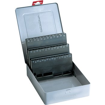 Borrkassett av metall, tomt, för 25 borr DIN338 1,0-13,0x0,5mm