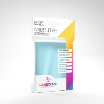 GameGenic Inner Sleeves Clear 100 Pack (63x88mm)