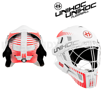 Unihoc Goalie Mask 66 Inferno white / neon red