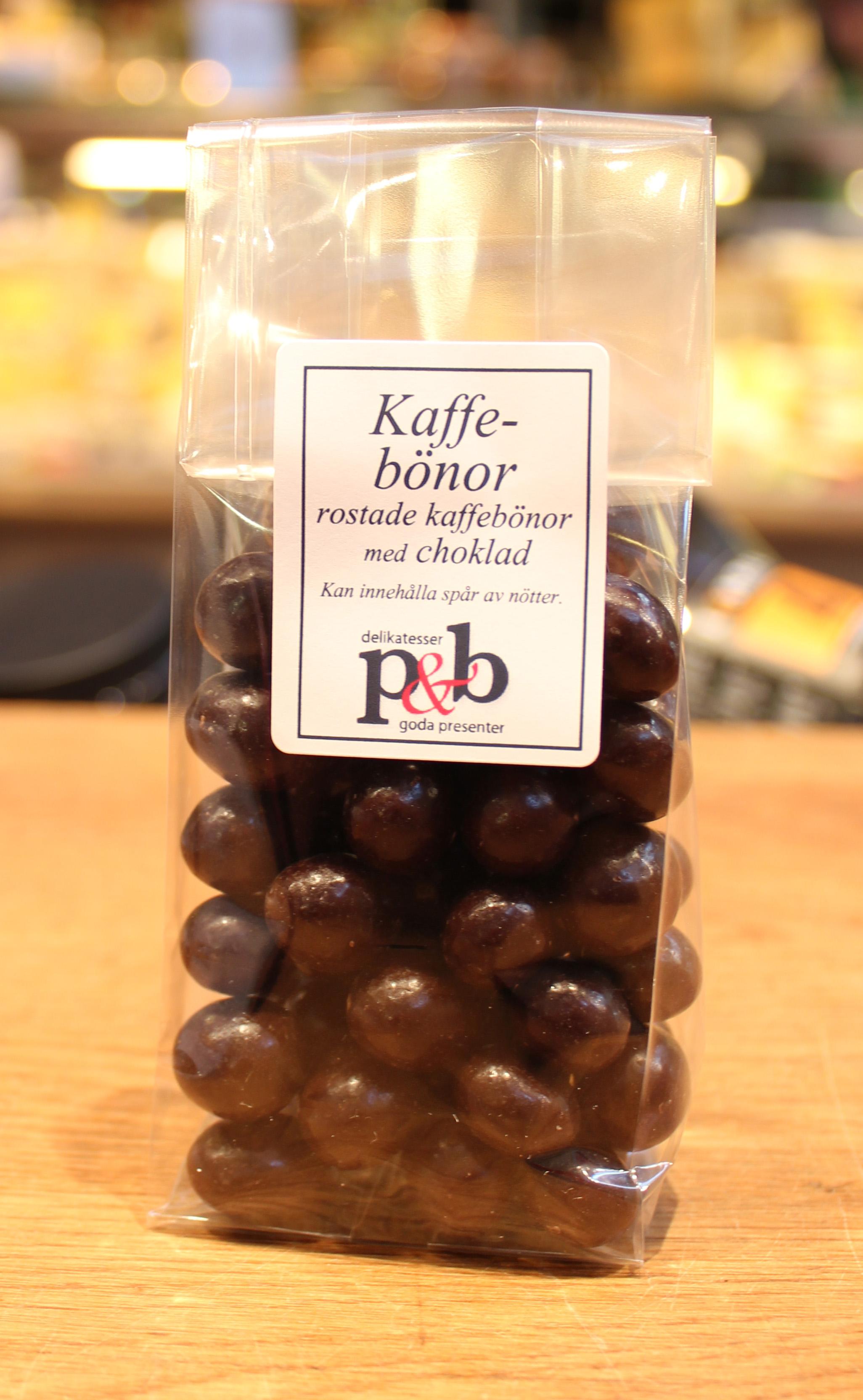kaffebönor med chokladöverdrag